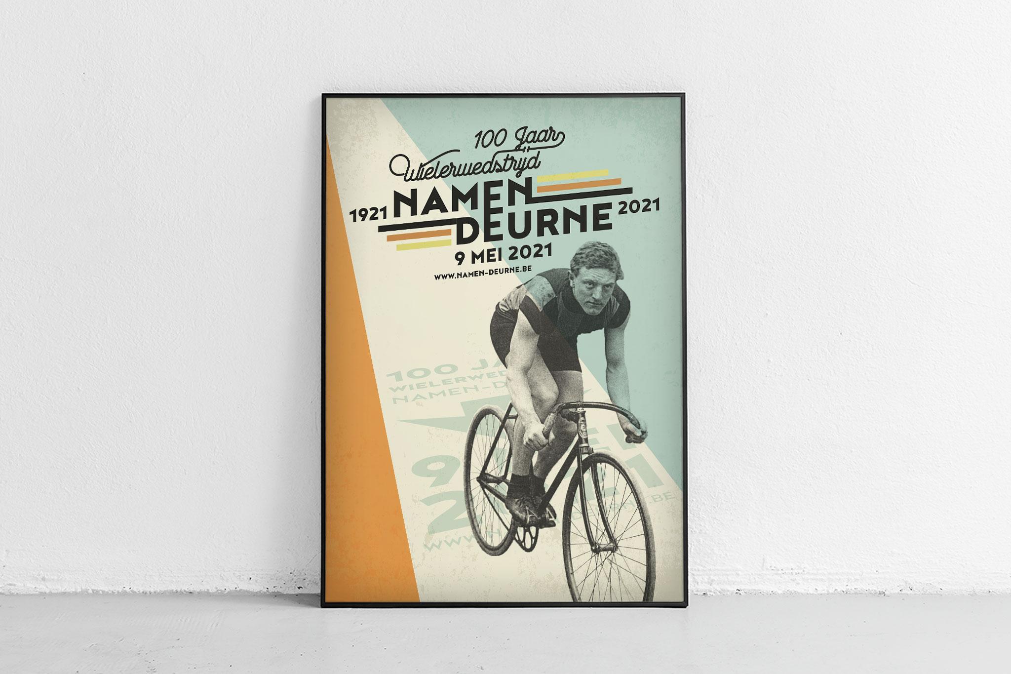 Vormgeving affiche voor historische wielerwedstrijd Namen-Deurne